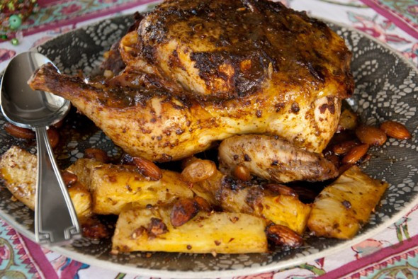 Indo-Moroccan Spiced Roast Chicken – with spicy pineapple wedges ...