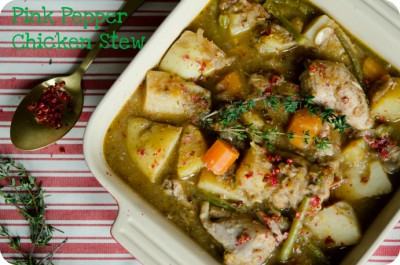 slow cooked chicken stew spiced with pink peppercorns