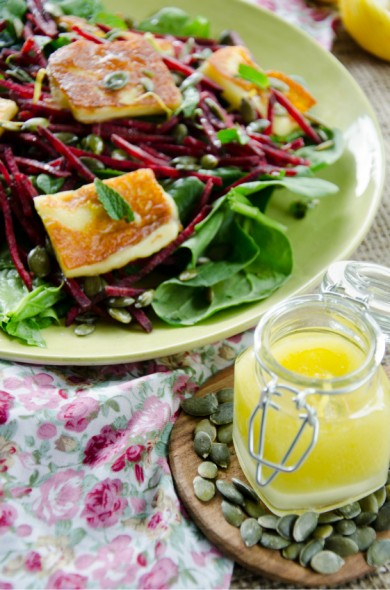grilled halloumi beetroot pumpkin seed salad with zesty