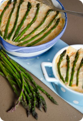 angel fish pie with double mash and asparagus