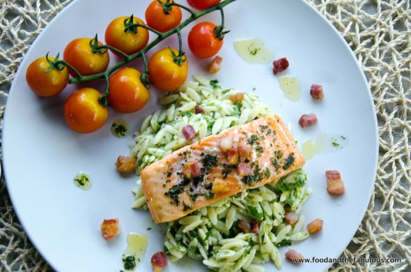 risoni pasta salad with grilled trout