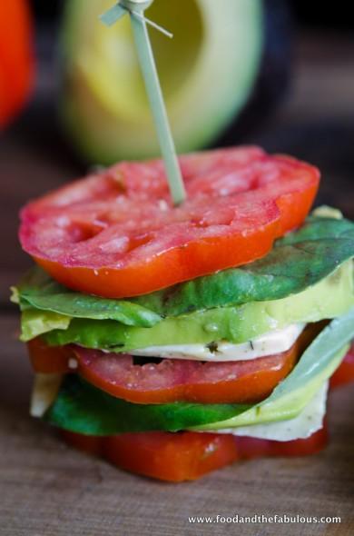 tomato and avocado stacks