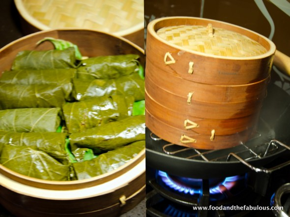 dolmades on bamboo steamer