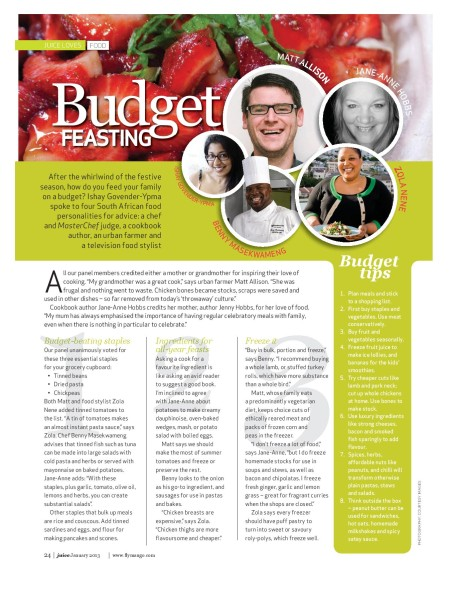 Budget Feasting, Jan Mango Juice Magazine