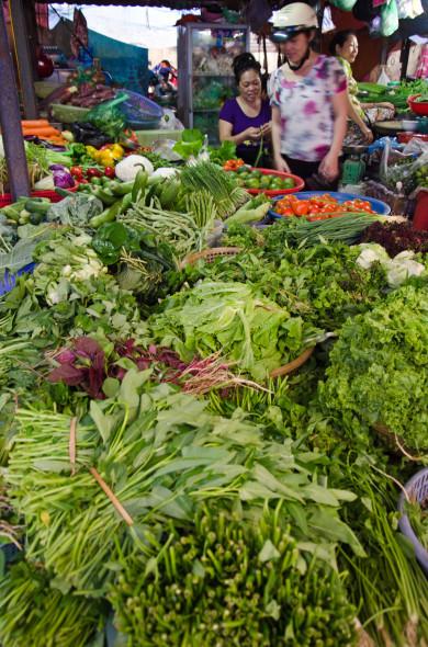 fresh herbs at the market