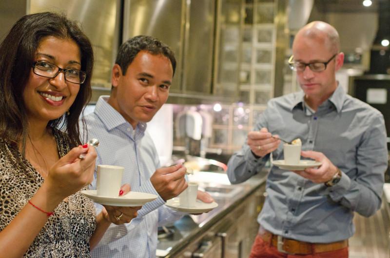 Taste testing with Keith Jenkins and Emiel van den Boomen at Prime Le Saint Geran