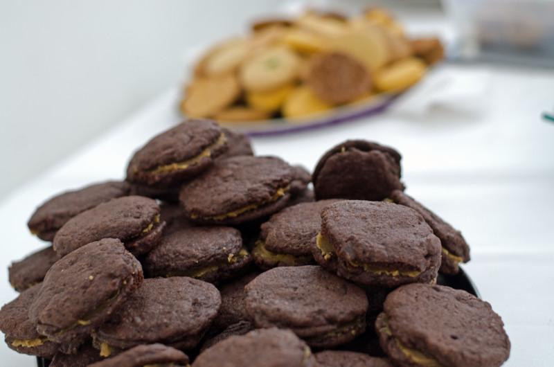 Zola Nene's Double Choc Salted caramel cookies at CT Cookie swap https://www.foodandthefabulous.com/