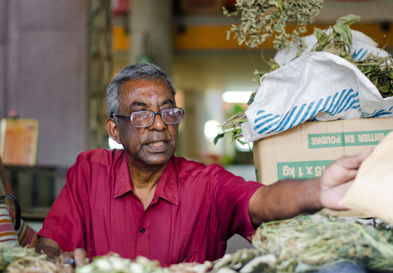 medicinal herb vendor, Port Louis