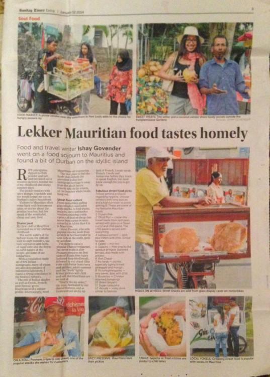 street food Mauritius similar to Durban
