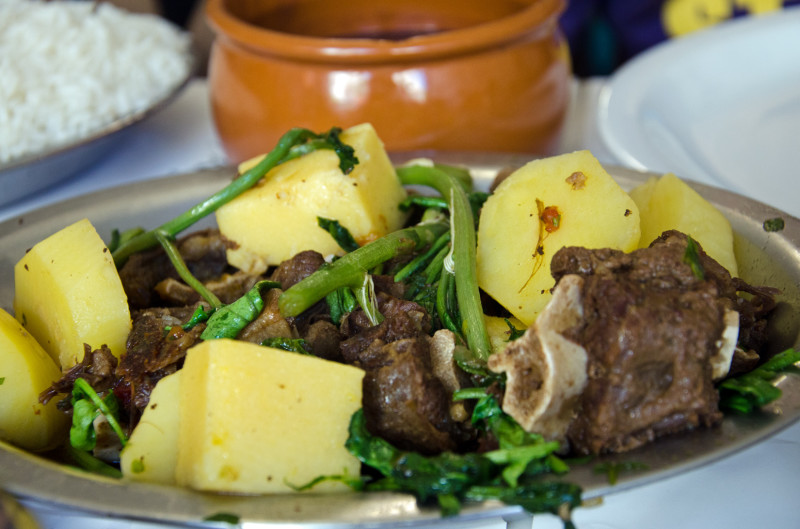 slow cooked lamb and potatoes