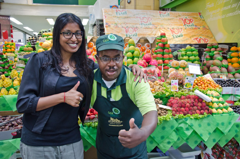 Author with fruit vendor in Sao Paulo