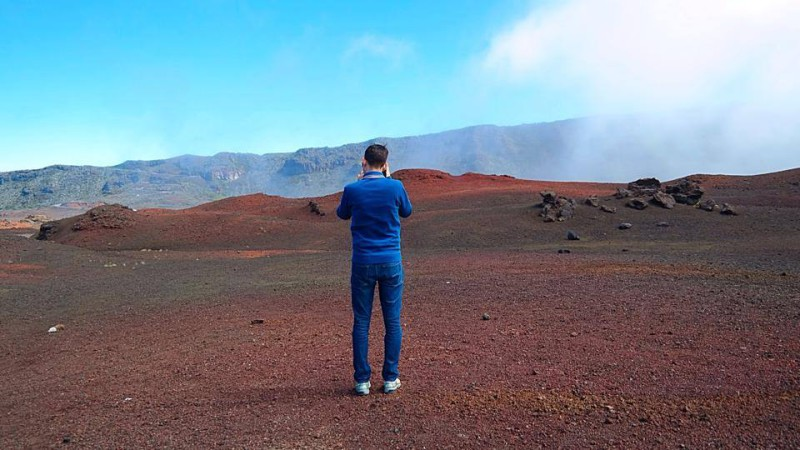 red soil in the volcanic region of Piton de la Fournaise - marvellous Mars-like rocks, flat plains of dusty earth, and craters make you feel like you're in an ET movie