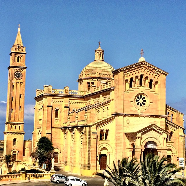 The Ta'Pinu basilica in Gozo as seen from the green tourist bus. Always enjoy a bus ride through a town for orientation. #maltaismore