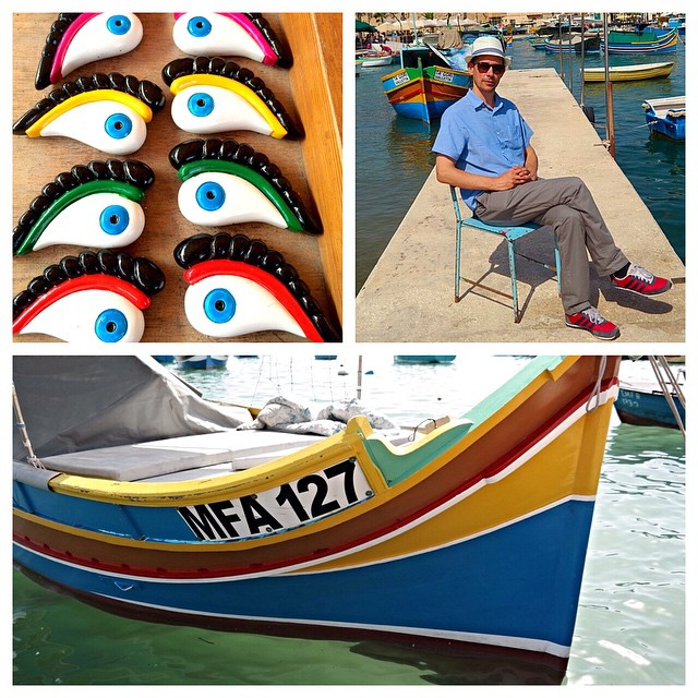 "The eye of Horus or Osiris, a protector against evil, an ancient Egyptian custom said to bring luck too. They say the eyes are stuck prominently on the front of the luzzu (fishing boats) in the village of Marsaxlokk but we couldn't find them on many. Boats are covered in blankets and sheets too (sun protection, I imagine) and we started to lift the blankets up looking for the eyes. Discreetly, of course. Nada. At the little market in the harbour a young man took his time selecting one. ""I hope this brings me luck,"" he said to the vendor who advised he placed it at the front of the house. Won't say I wasn't tempted to ask him a few questions :) #loveMalta #maltaismore"