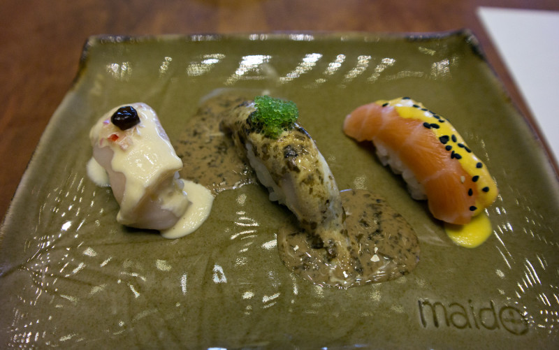 Nikkei sushi at Madio - a fusion of Japanese technique and Peruvian ingredients