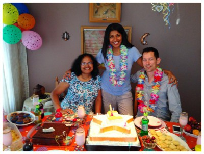 celebrating my husband's birthday with my parents in their home