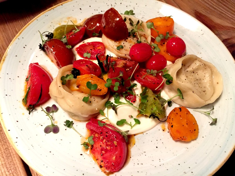 cheese pierogi with seasonal tomatoes