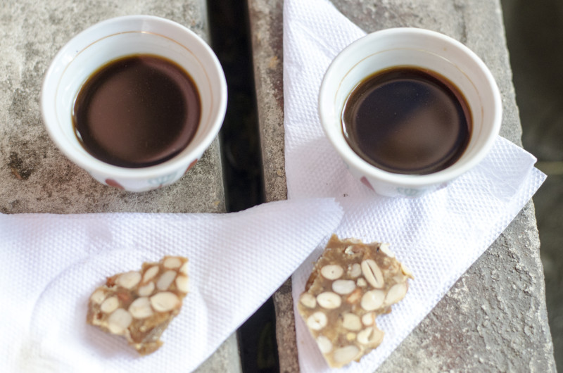 kahwa (coffee) and kashata - peanut snacks