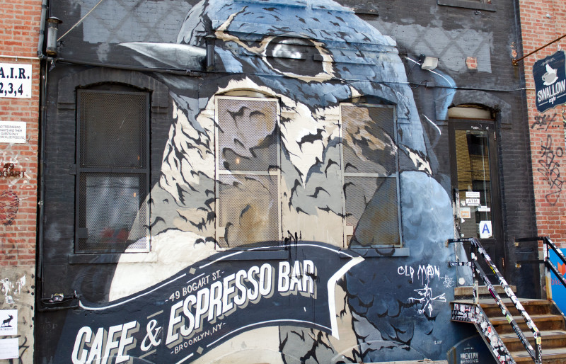 Mural on wall of Brooklyn's Swallow Cafe and Espresso Bar